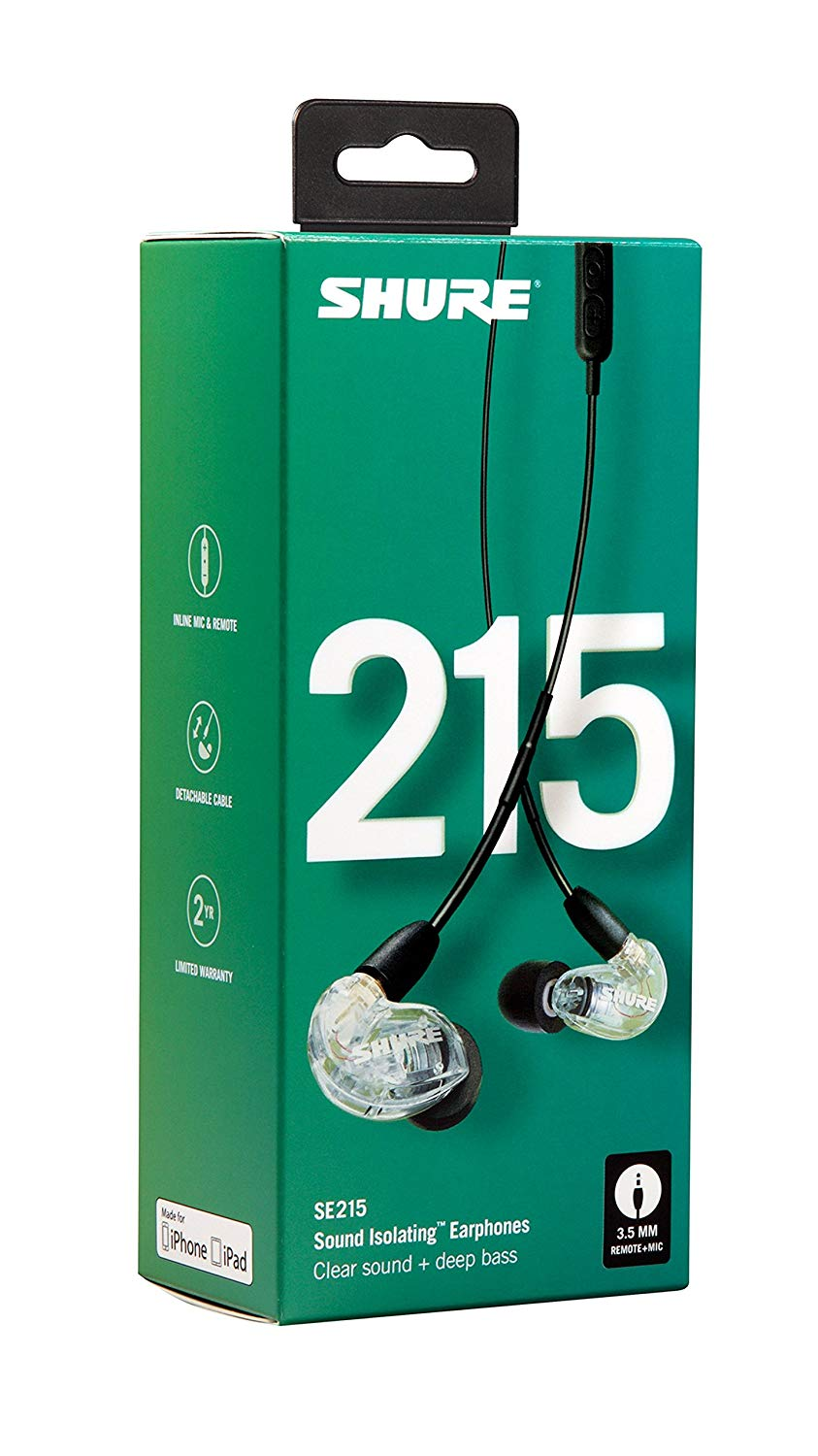 Shure SE215-CL-UNI Sound Isolating Earphones with Inline Remote